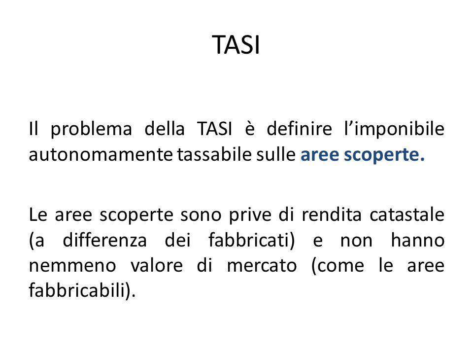 TASI Il problema della TASI è definire l'imponibile autonomamente tassabile sulle aree scoperte. Le aree scoperte sono prive di rendita catastale (a d