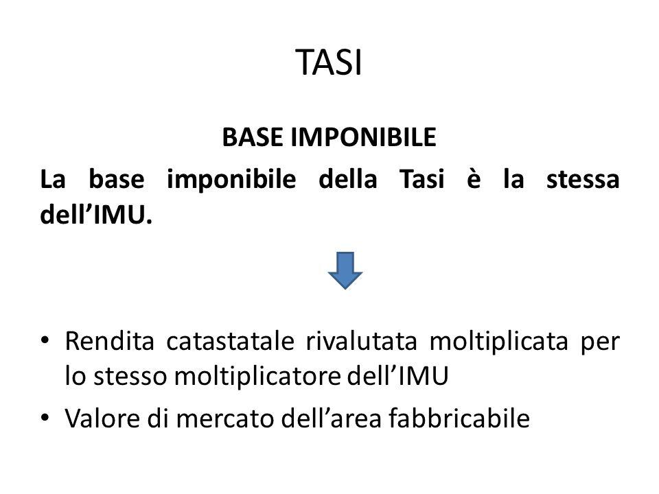 TASI BASE IMPONIBILE La base imponibile della Tasi è la stessa dell'IMU. Rendita catastatale rivalutata moltiplicata per lo stesso moltiplicatore dell
