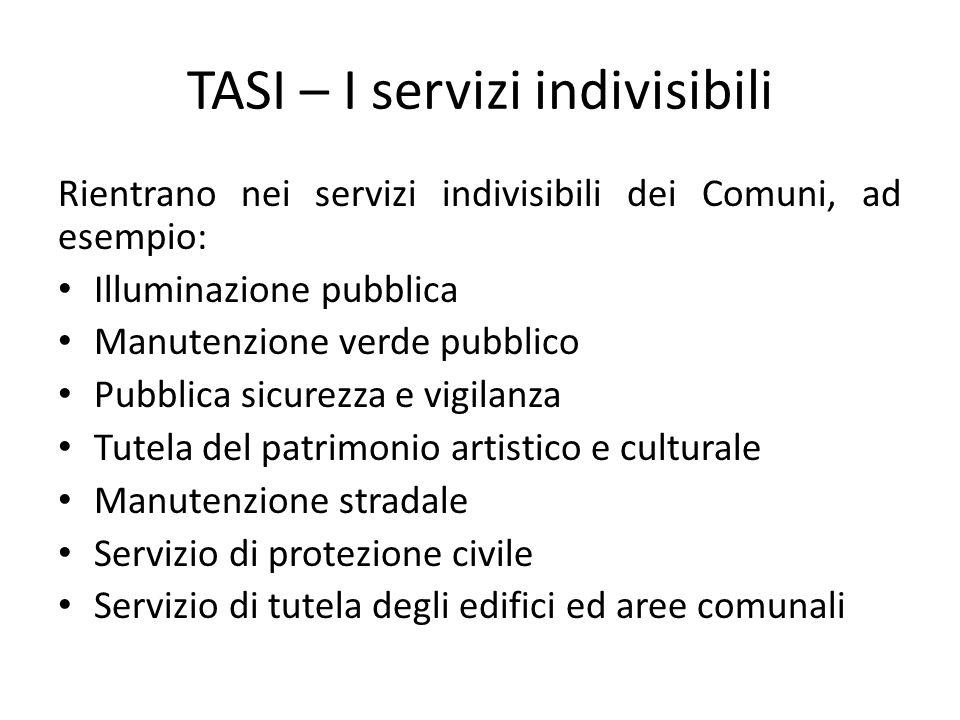 TASI – I servizi indivisibili Rientrano nei servizi indivisibili dei Comuni, ad esempio: Illuminazione pubblica Manutenzione verde pubblico Pubblica s