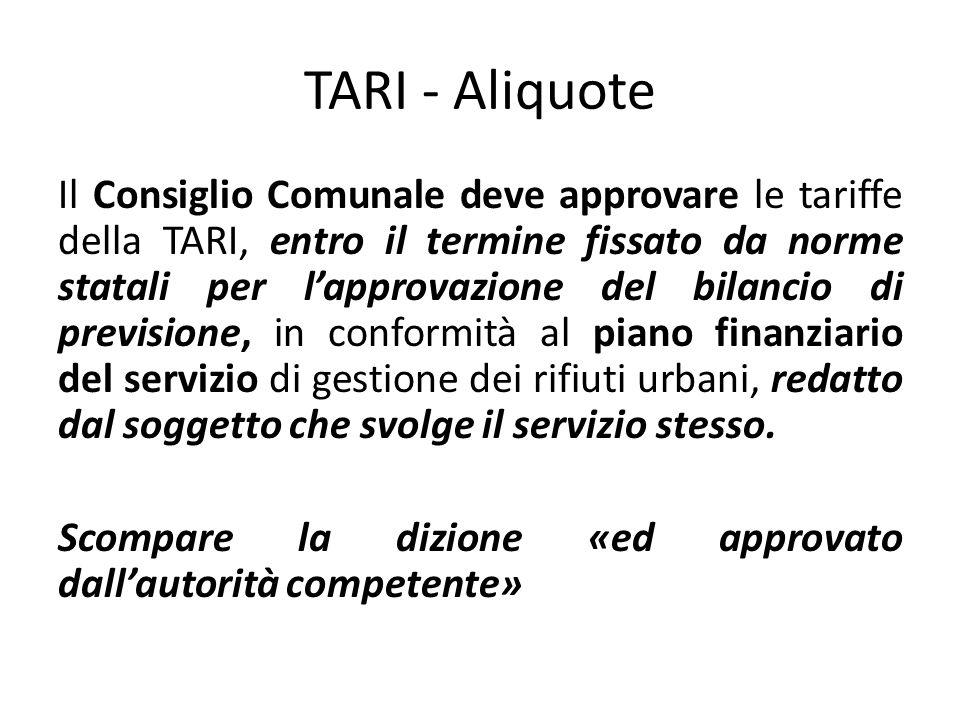 TARI - Aliquote Il Consiglio Comunale deve approvare le tariffe della TARI, entro il termine fissato da norme statali per l'approvazione del bilancio