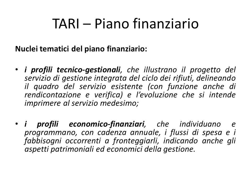 TARI – Piano finanziario Nuclei tematici del piano finanziario: i profili tecnico-gestionali, che illustrano il progetto del servizio di gestione inte