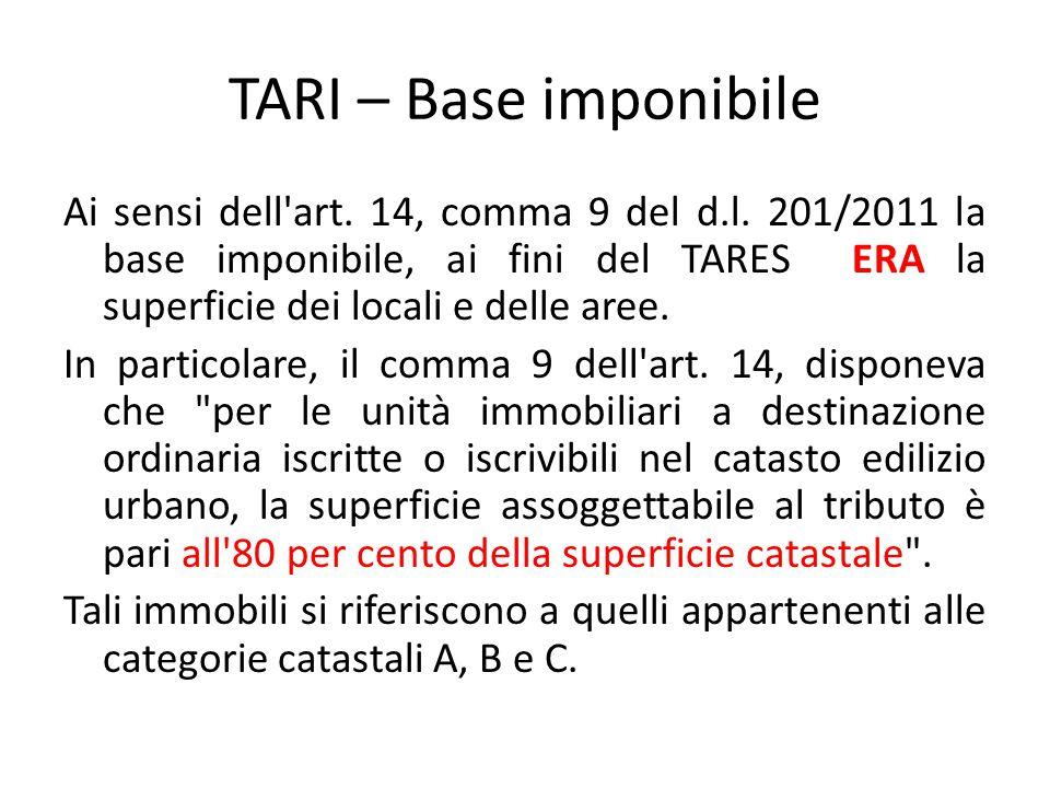 TARI – Base imponibile Ai sensi dell'art. 14, comma 9 del d.l. 201/2011 la base imponibile, ai fini del TARES ERA la superficie dei locali e delle are