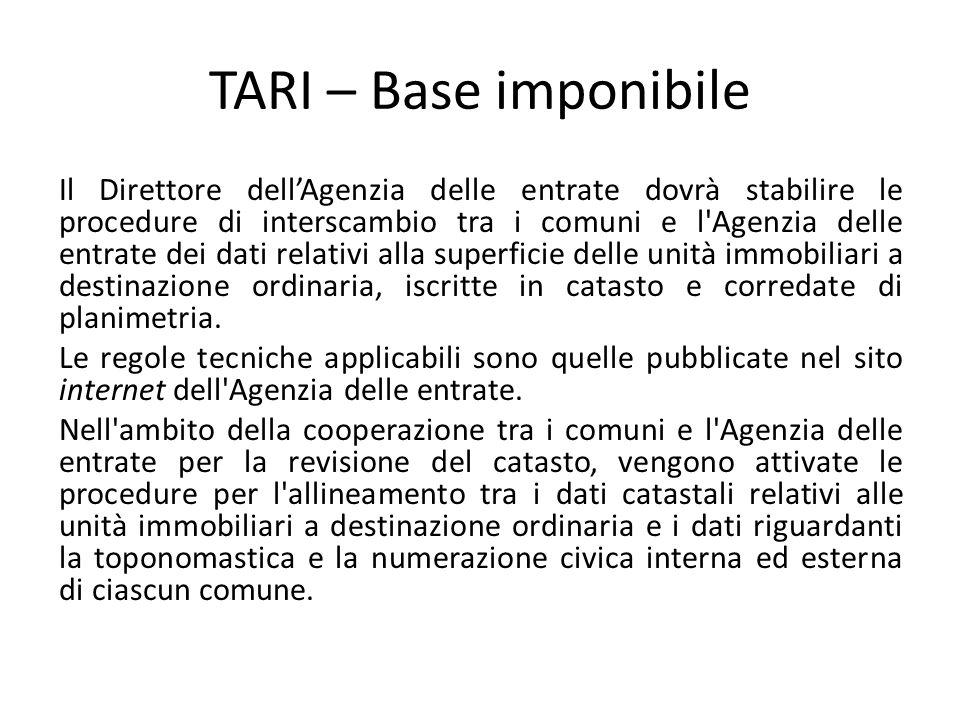 TARI – Base imponibile Il Direttore dell'Agenzia delle entrate dovrà stabilire le procedure di interscambio tra i comuni e l'Agenzia delle entrate dei
