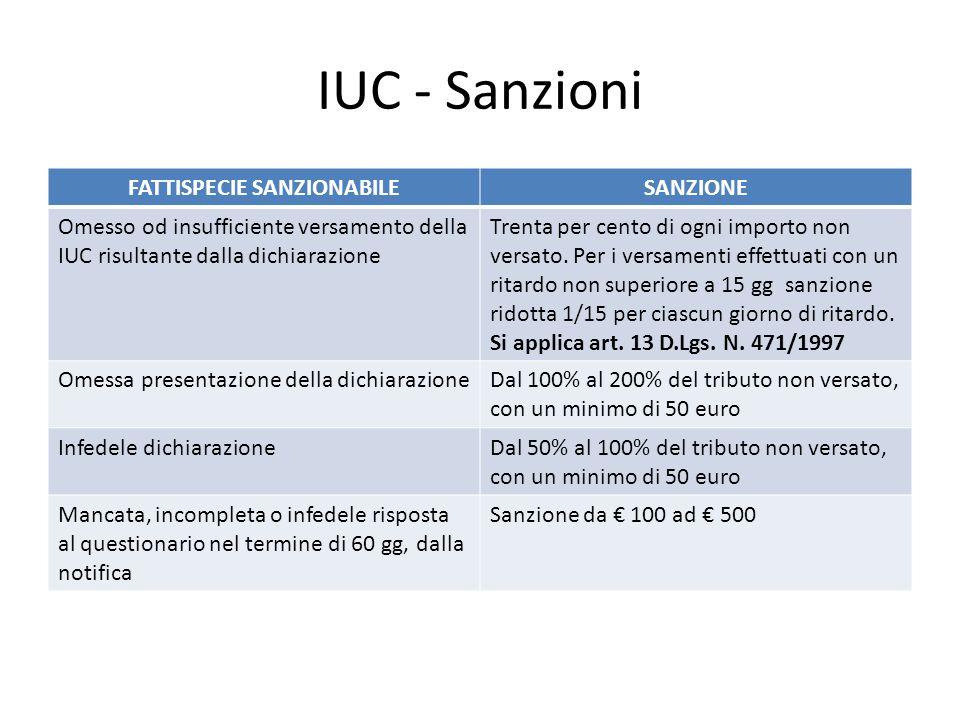 IUC - Sanzioni FATTISPECIE SANZIONABILESANZIONE Omesso od insufficiente versamento della IUC risultante dalla dichiarazione Trenta per cento di ogni i