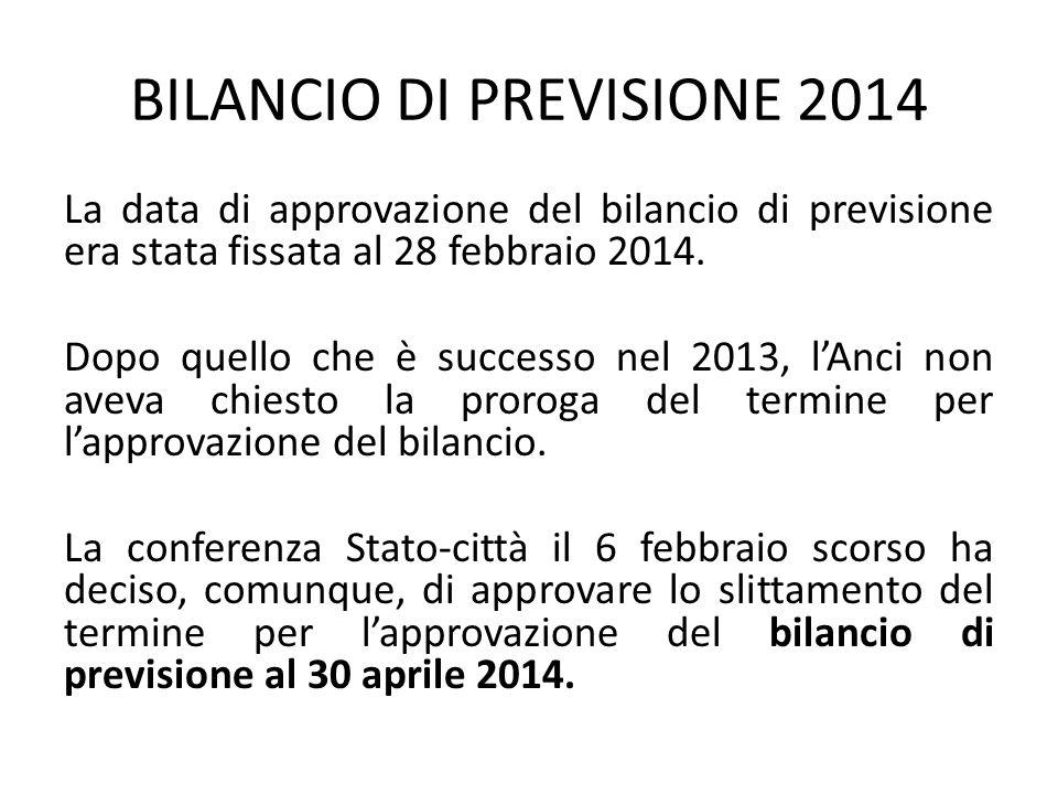 BILANCIO DI PREVISIONE 2014 La data di approvazione del bilancio di previsione era stata fissata al 28 febbraio 2014. Dopo quello che è successo nel 2