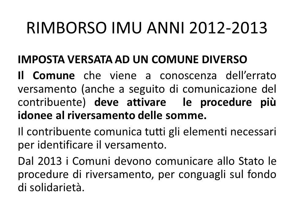 RIMBORSO IMU ANNI 2012-2013 IMPOSTA VERSATA AD UN COMUNE DIVERSO Il Comune che viene a conoscenza dell'errato versamento (anche a seguito di comunicaz