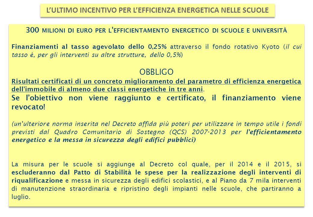 300 MILIONI DI EURO PER L ' EFFICIENTAMENTO ENERGETICO DI SCUOLE E UNIVERSITÀ Finanziamenti al tasso agevolato dello 0,25% attraverso il fondo rotativ