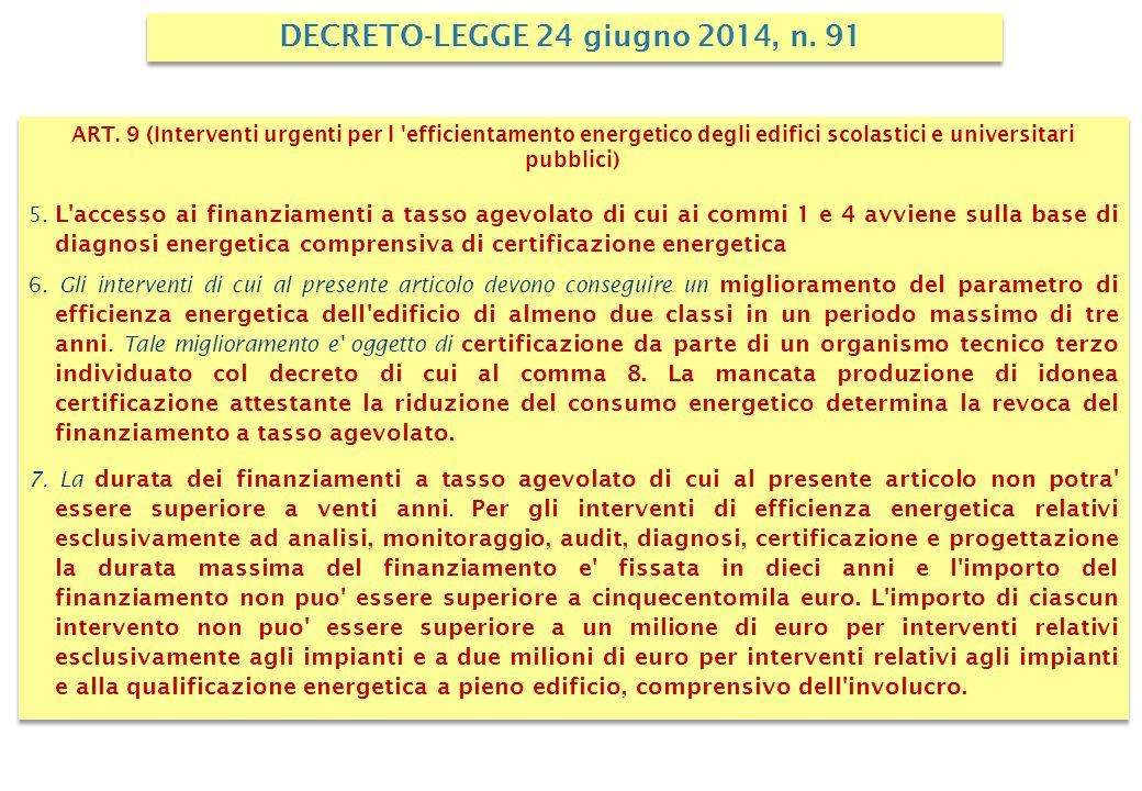 ART. 9 (Interventi urgenti per l 'efficientamento energetico degli edifici scolastici e universitari pubblici) 5. L'accesso ai finanziamenti a tasso a