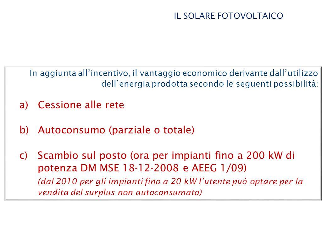 In aggiunta all'incentivo, il vantaggio economico derivante dall'utilizzo dell'energia prodotta secondo le seguenti possibilità : a) Cessione alle rete b) Autoconsumo (parziale o totale) c)Scambio sul posto (ora per impianti fino a 200 kW di potenza DM MSE 18-12-2008 e AEEG 1/09) (dal 2010 per gli impianti fino a 20 kW l'utente può optare per la vendita del surplus non autoconsumato) IL SOLARE FOTOVOLTAICO