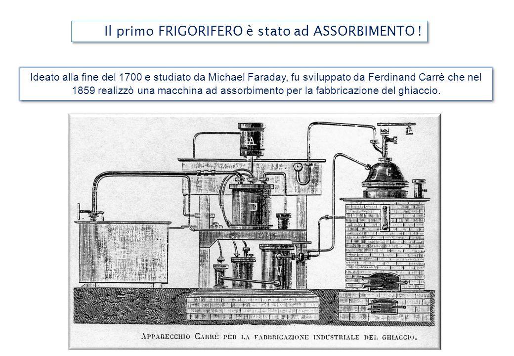 Il primo FRIGORIFERO è stato ad ASSORBIMENTO ! Ideato alla fine del 1700 e studiato da Michael Faraday, fu sviluppato da Ferdinand Carrè che nel 1859