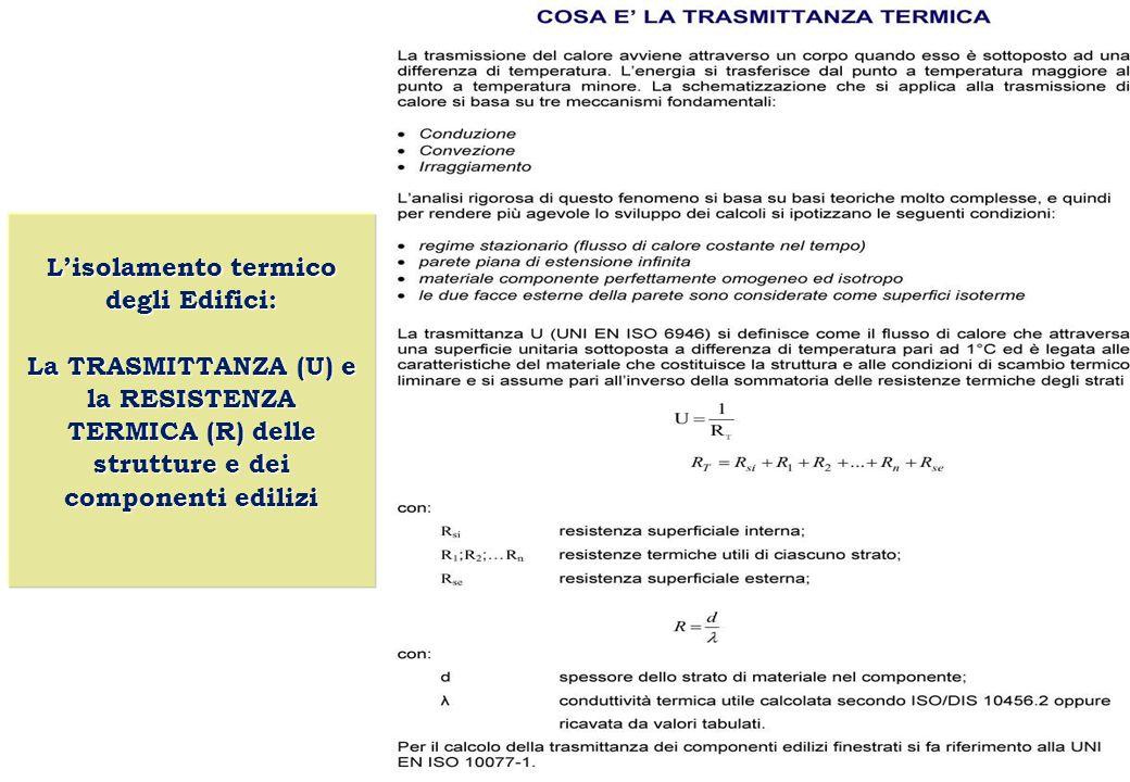L'isolamento termico degli Edifici: La TRASMITTANZA (U) e la RESISTENZA TERMICA (R) delle strutture e dei componenti edilizi