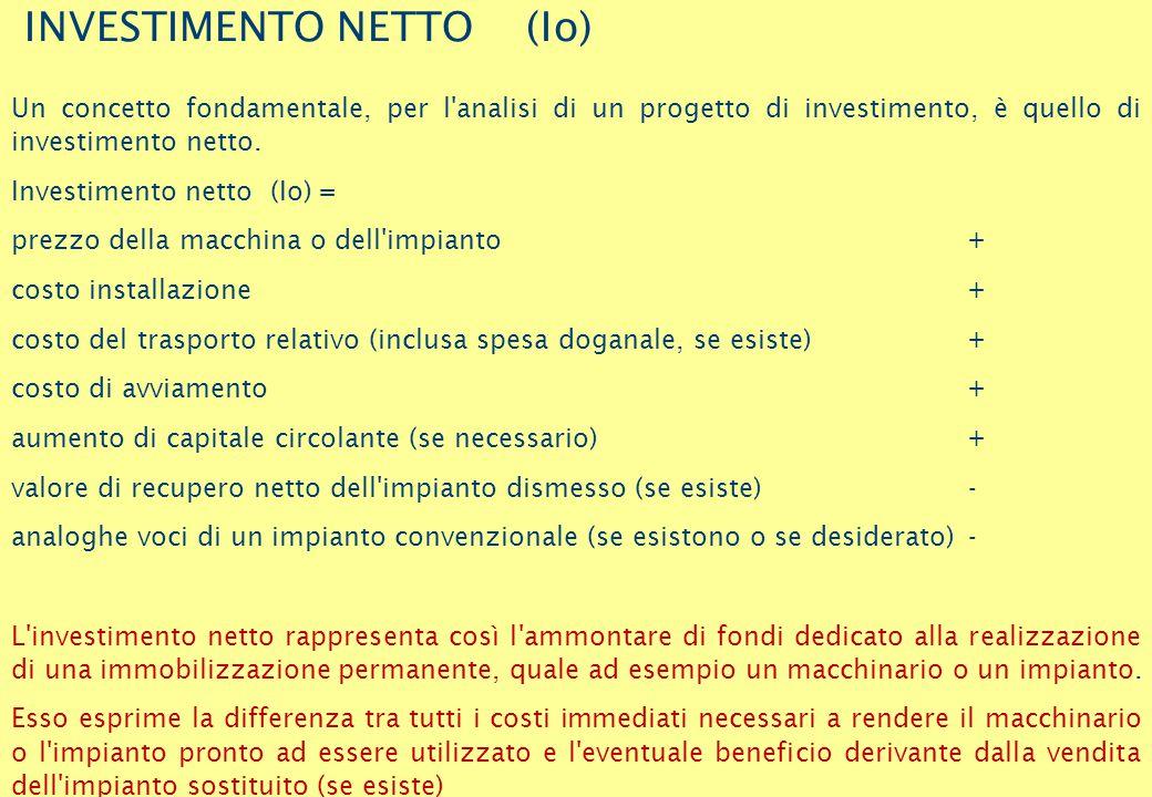 INVESTIMENTO NETTO (Io) Un concetto fondamentale, per l analisi di un progetto di investimento, è quello di investimento netto.