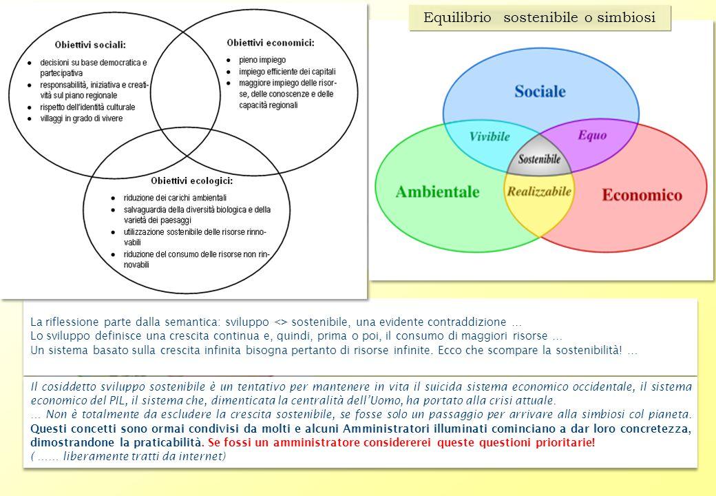 La riflessione parte dalla semantica: sviluppo <> sostenibile, una evidente contraddizione … Lo sviluppo definisce una crescita continua e, quindi, prima o poi, il consumo di maggiori risorse … Un sistema basato sulla crescita infinita bisogna pertanto di risorse infinite.