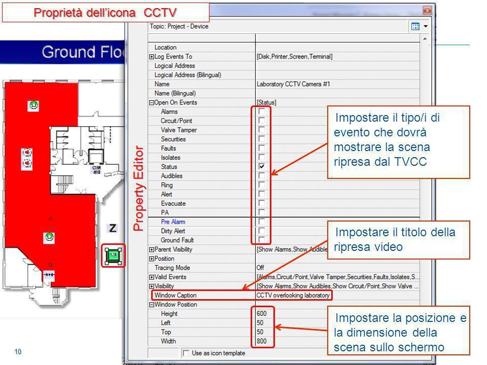 10 10 10 Impostare il tipo/i di evento che dovrà mostrare la scena ripresa dal TVCC Impostare il titolo della ripresa video Impostare la posizione e la dimensione della scena sullo schermo Proprietà dell'icona CCTV