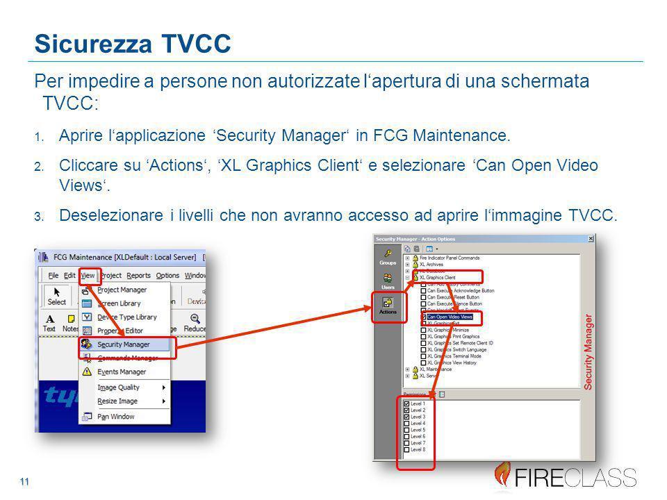 11 11 11 Sicurezza TVCC Per impedire a persone non autorizzate l'apertura di una schermata TVCC: 1.