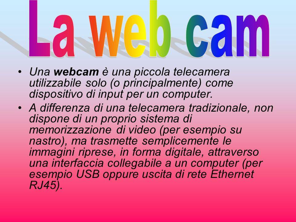 Una webcam è una piccola telecamera utilizzabile solo (o principalmente) come dispositivo di input per un computer. A differenza di una telecamera tra
