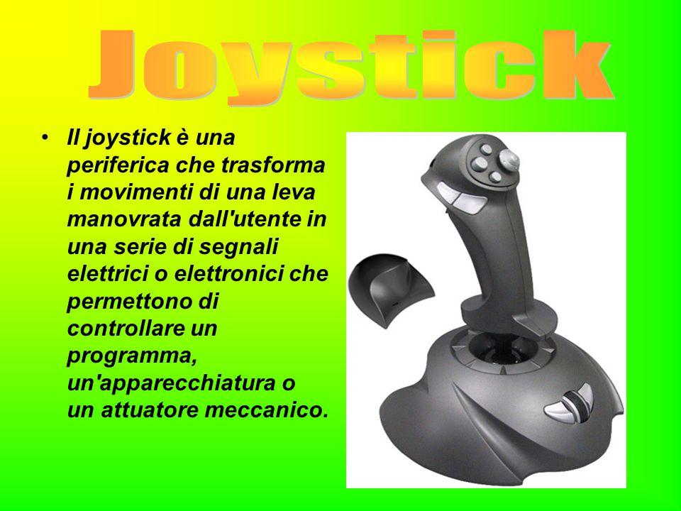 Il joystick è una periferica che trasforma i movimenti di una leva manovrata dall'utente in una serie di segnali elettrici o elettronici che permetton