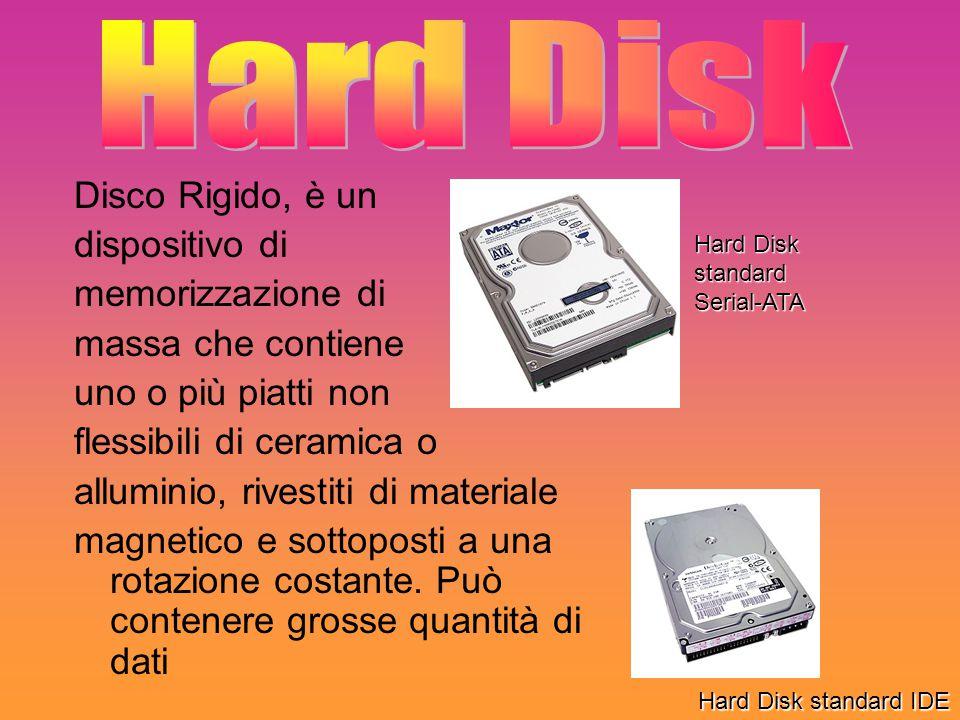Disco Rigido, è un dispositivo di memorizzazione di massa che contiene uno o più piatti non flessibili di ceramica o alluminio, rivestiti di materiale