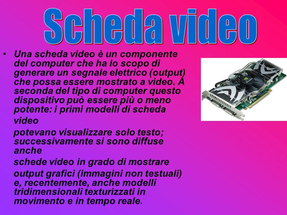 Una scheda video è un componente del computer che ha lo scopo di generare un segnale elettrico (output) che possa essere mostrato a video. A seconda d