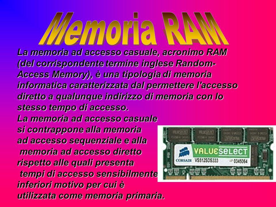 La memoria ad accesso casuale, acronimo RAM (del corrispondente termine inglese Random- Access Memory), è una tipologia di memoria informatica caratte