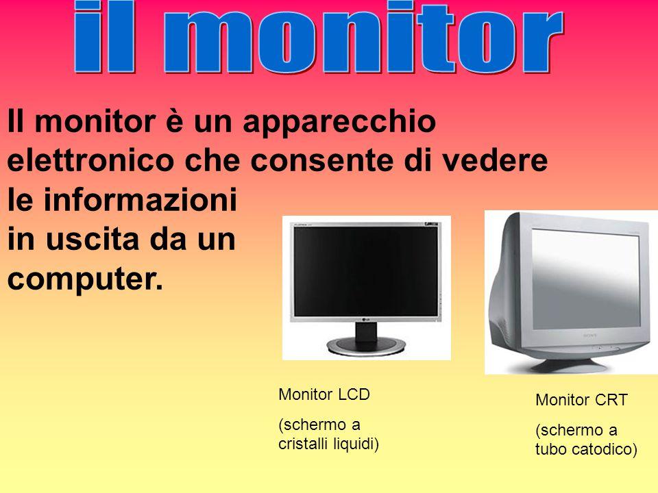 Il monitor è un apparecchio elettronico che consente di vedere le informazioni in uscita da un computer. Monitor LCD (schermo a cristalli liquidi) Mon