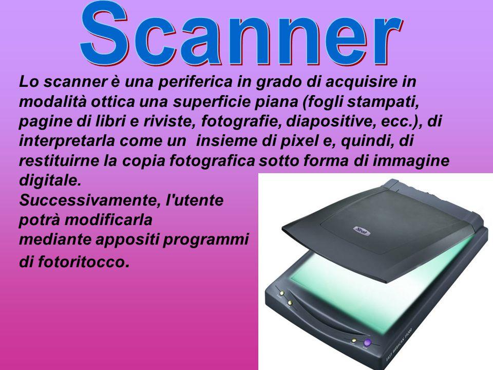 Lo scanner è una periferica in grado di acquisire in modalità ottica una superficie piana (fogli stampati, pagine di libri e riviste, fotografie, diap