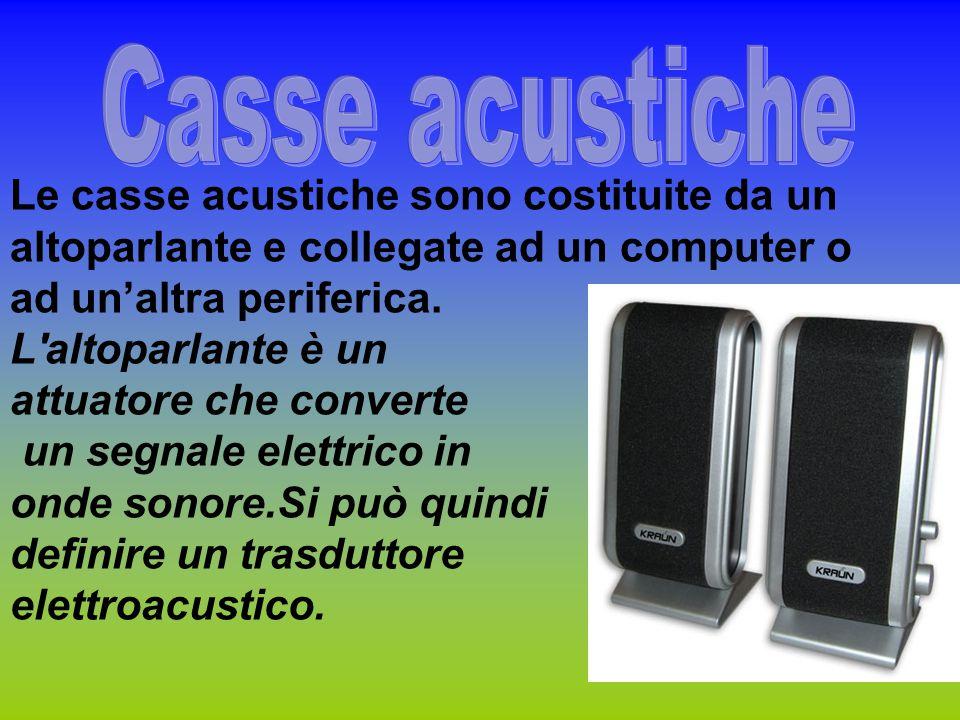 Le casse acustiche sono costituite da un altoparlante e collegate ad un computer o ad un'altra periferica. L'altoparlante è un attuatore che converte