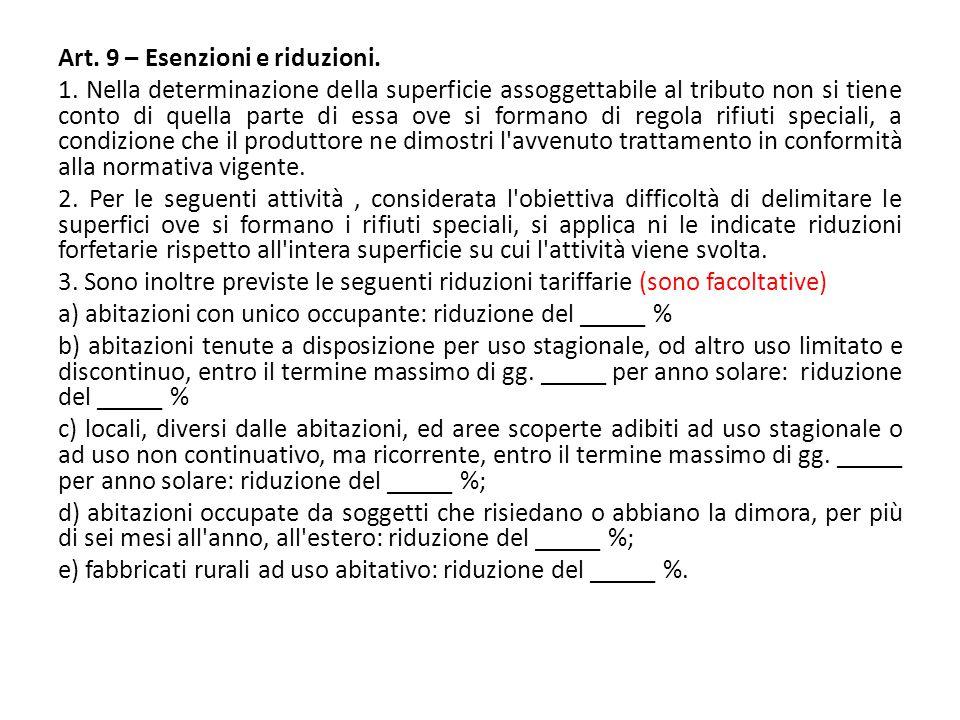 Art. 9 – Esenzioni e riduzioni. 1. Nella determinazione della superficie assoggettabile al tributo non si tiene conto di quella parte di essa ove si f