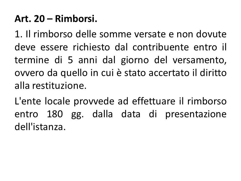 Art. 20 – Rimborsi. 1.