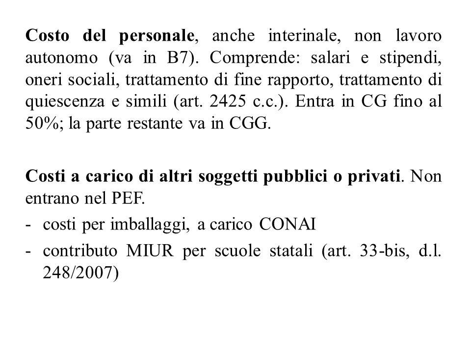 Costo del personale, anche interinale, non lavoro autonomo (va in B7). Comprende: salari e stipendi, oneri sociali, trattamento di fine rapporto, trat
