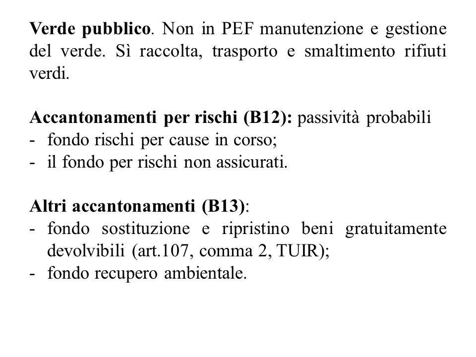 Verde pubblico. Non in PEF manutenzione e gestione del verde. Sì raccolta, trasporto e smaltimento rifiuti verdi. Accantonamenti per rischi (B12): pas