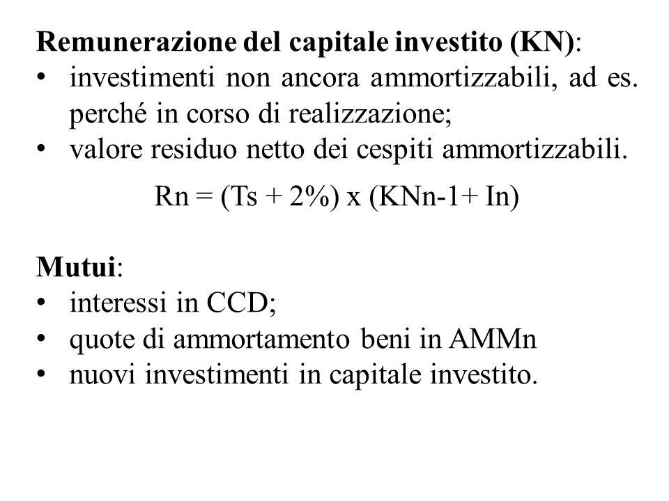 Remunerazione del capitale investito (KN): investimenti non ancora ammortizzabili, ad es. perché in corso di realizzazione; valore residuo netto dei c