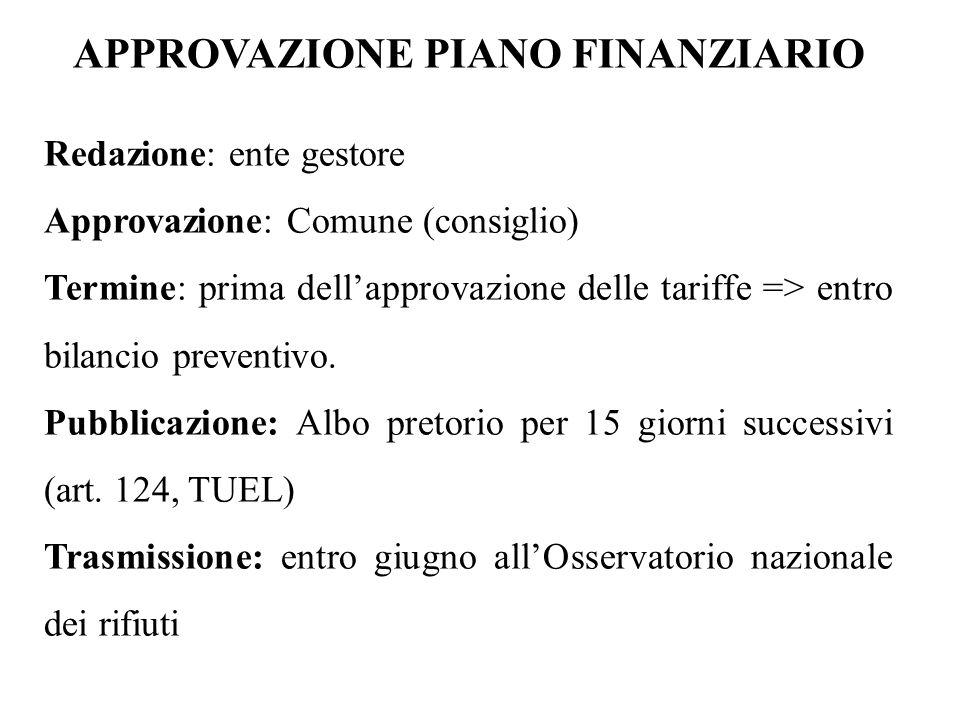 APPROVAZIONE PIANO FINANZIARIO Redazione: ente gestore Approvazione: Comune (consiglio) Termine: prima dell'approvazione delle tariffe => entro bilanc