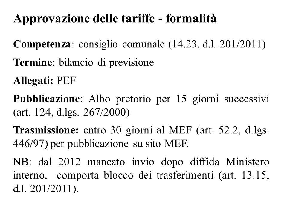 Approvazione delle tariffe - formalità Competenza: consiglio comunale (14.23, d.l. 201/2011) Termine: bilancio di previsione Allegati: PEF Pubblicazio