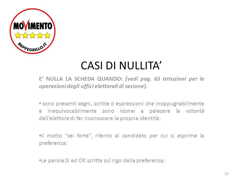 CASI DI NULLITA' E' NULLA LA SCHEDA QUANDO: (vedi pag. 65 Istruzioni per le operazioni degli uffici elettorali di sezione). sono presenti segni, scrit