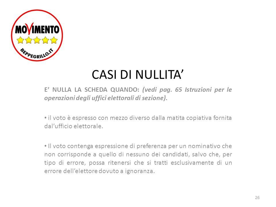 CASI DI NULLITA' E' NULLA LA SCHEDA QUANDO: (vedi pag. 65 Istruzioni per le operazioni degli uffici elettorali di sezione). il voto è espresso con mez