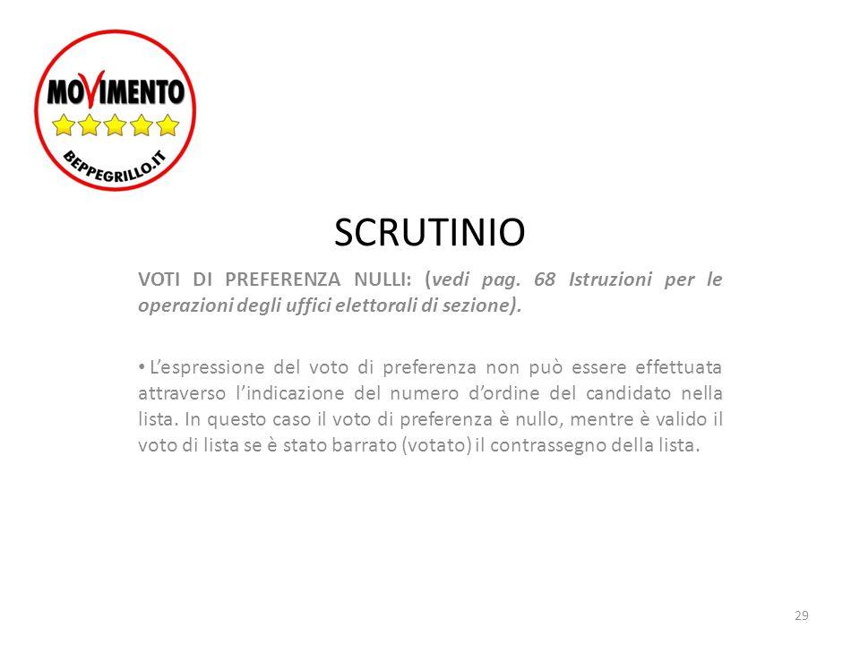 SCRUTINIO VOTI DI PREFERENZA NULLI: (vedi pag. 68 Istruzioni per le operazioni degli uffici elettorali di sezione). L'espressione del voto di preferen