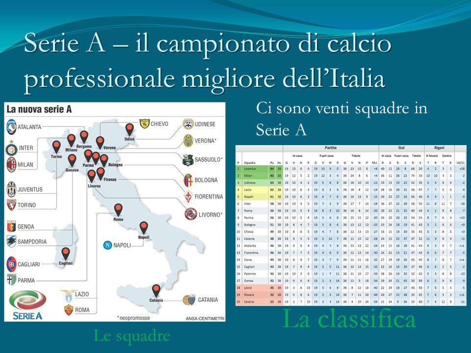 Serie A – il campionato di calcio professionale migliore dell'Italia Le squadre La classifica Ci sono venti squadre in Serie A