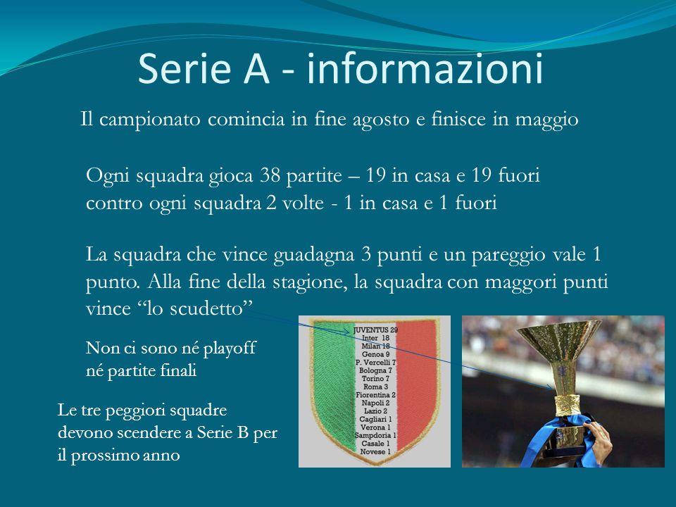 Serie A - informazioni Il campionato comincia in fine agosto e finisce in maggio Ogni squadra gioca 38 partite – 19 in casa e 19 fuori contro ogni squ