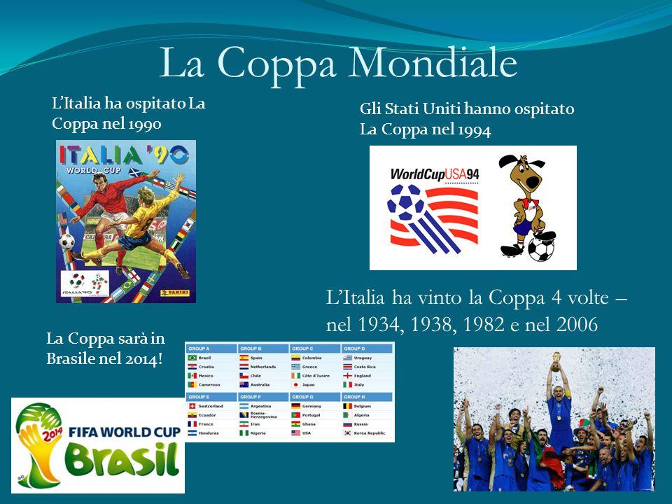 La Coppa Mondiale L'Italia ha ospitato La Coppa nel 1990 Gli Stati Uniti hanno ospitato La Coppa nel 1994 La Coppa sarà in Brasile nel 2014! L'Italia