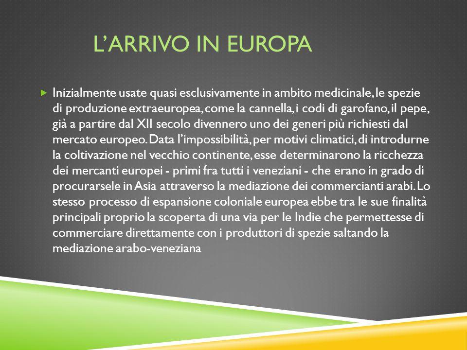 L'ARRIVO IN EUROPA  Inizialmente usate quasi esclusivamente in ambito medicinale, le spezie di produzione extraeuropea, come la cannella, i codi di g