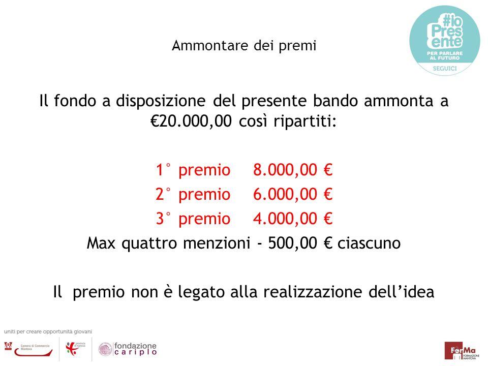 Ammontare dei premi Il fondo a disposizione del presente bando ammonta a €20.000,00 così ripartiti: 1° premio8.000,00 € 2° premio6.000,00 € 3° premio4