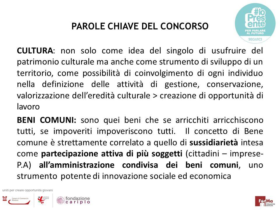 PAROLE CHIAVE DEL CONCORSO CULTURA: non solo come idea del singolo di usufruire del patrimonio culturale ma anche come strumento di sviluppo di un ter