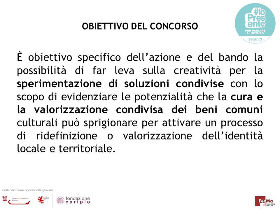 OBIETTIVO DEL CONCORSO È obiettivo specifico dell'azione e del bando la possibilità di far leva sulla creatività per la sperimentazione di soluzioni c