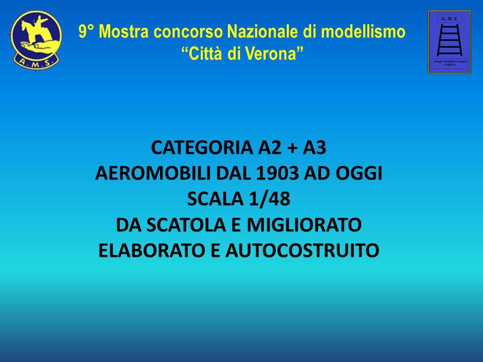 CATEGORIA A2 + A3 AEROMOBILI DAL 1903 AD OGGI SCALA 1/48 DA SCATOLA E MIGLIORATO ELABORATO E AUTOCOSTRUITO 9° Mostra concorso Nazionale di modellismo Città di Verona