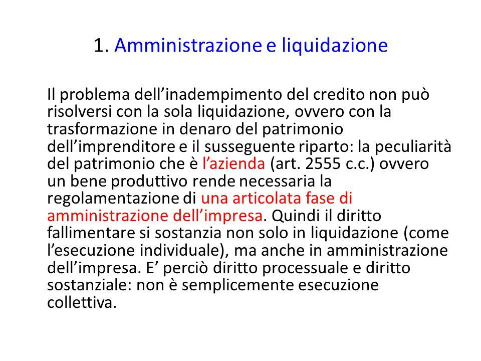 1. Amministrazione e liquidazione Il problema dell'inadempimento del credito non può risolversi con la sola liquidazione, ovvero con la trasformazione