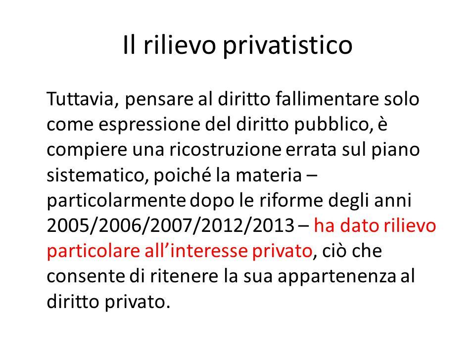 Il rilievo privatistico Tuttavia, pensare al diritto fallimentare solo come espressione del diritto pubblico, è compiere una ricostruzione errata sul