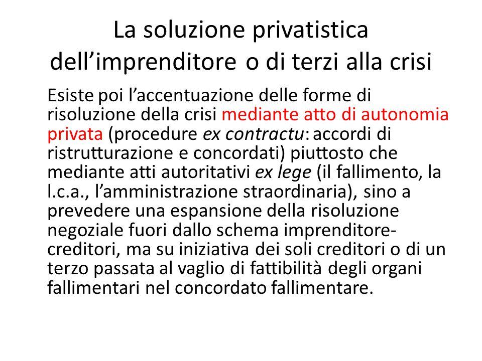 La soluzione privatistica dell'imprenditore o di terzi alla crisi Esiste poi l'accentuazione delle forme di risoluzione della crisi mediante atto di a