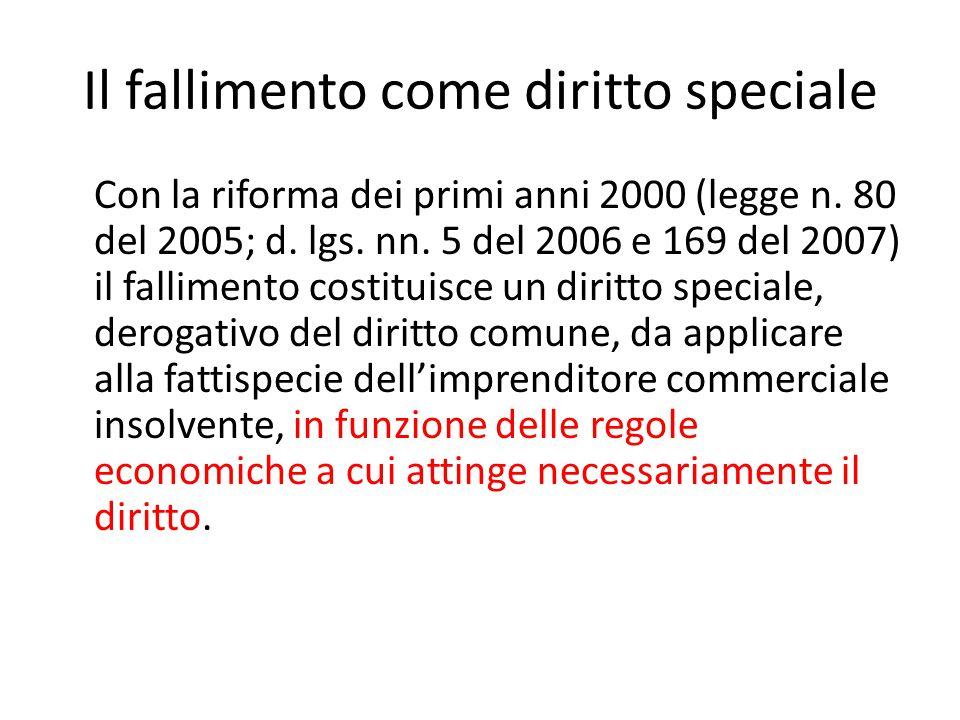 Il fallimento come diritto speciale Con la riforma dei primi anni 2000 (legge n. 80 del 2005; d. lgs. nn. 5 del 2006 e 169 del 2007) il fallimento cos