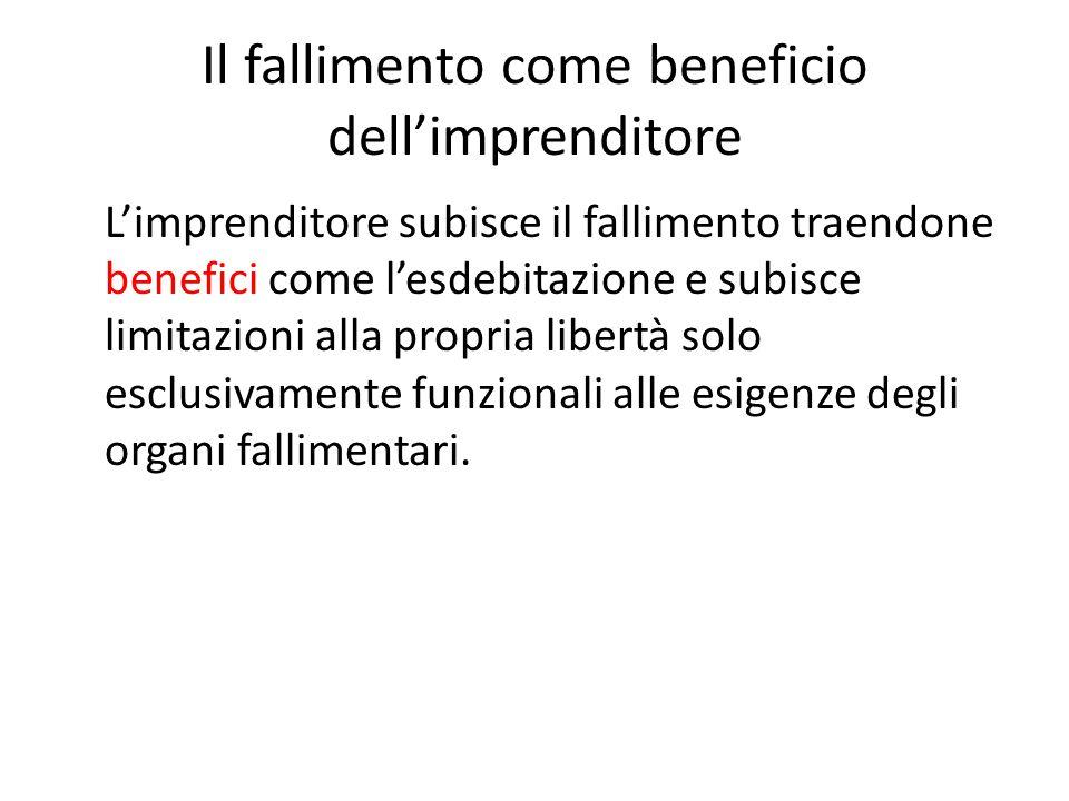 Il fallimento come beneficio dell'imprenditore L'imprenditore subisce il fallimento traendone benefici come l'esdebitazione e subisce limitazioni alla